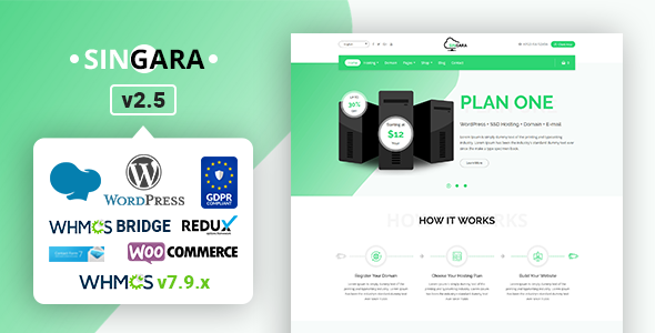 Singara - Multipurpose Hosting with WHMCS WordPress Themes by themelooks