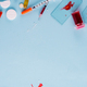 Syringes, pills And Test Tube With Blood on a blue background with copy space - PhotoDune Item for Sale