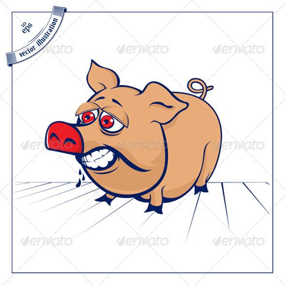 Cartoon Ferocious Pig - Animals Characters