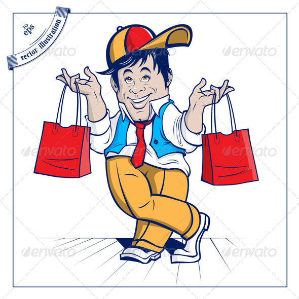 Cartoon Shopping Boy - People Characters