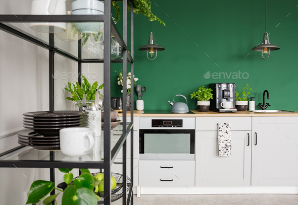 Modern scandinavian apartment with trendy furniture, real photo - Stock Photo - Images