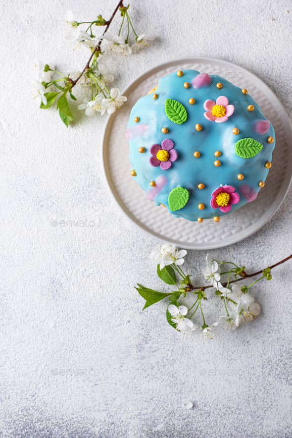 Traditional Easter cake with topping - Stock Photo - Images