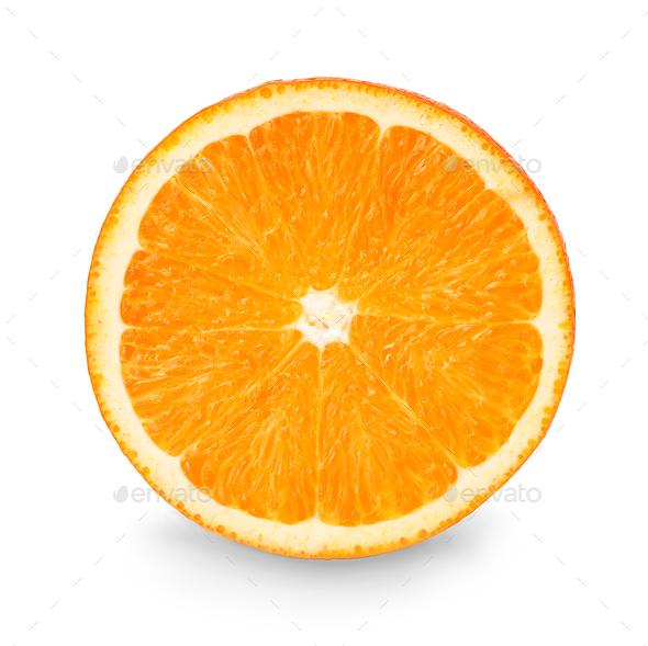 Orange slice isolated close-up on white background. - Stock Photo - Images
