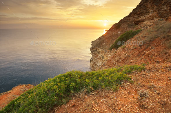 Sunset on cliffs. - Stock Photo - Images