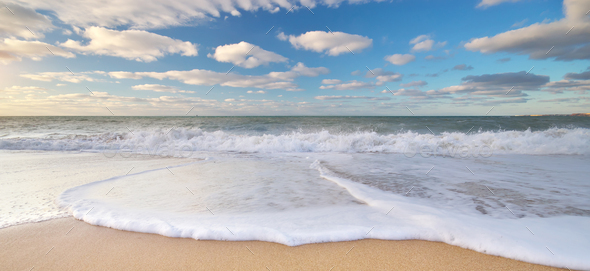 Beautiful beach shore seascape - Stock Photo - Images