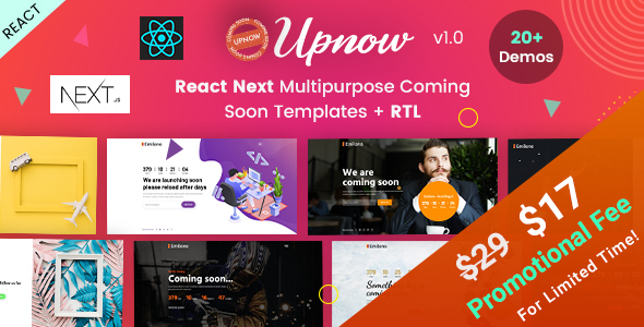 Upnow - React Next Under Construction Landing Template by EnvyTheme