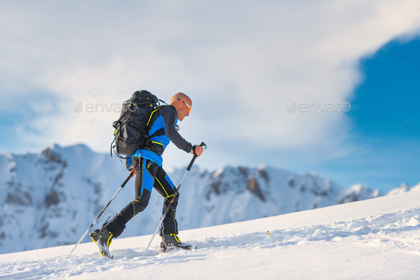 Ski mountaineering in action - Stock Photo - Images