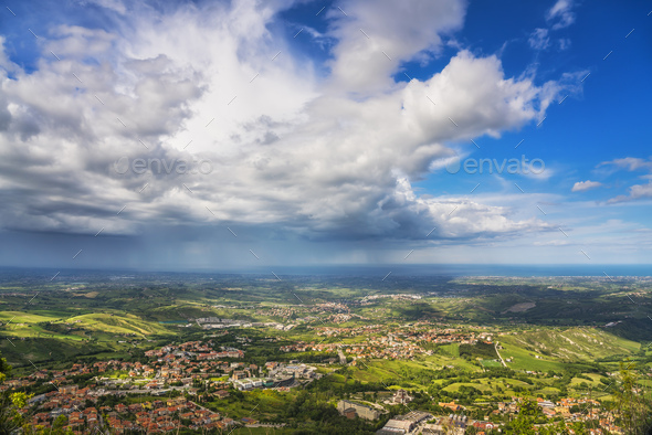 Panoramic view of Romagna coast or Riviera Romagnola from San Marino. Italy - Stock Photo - Images