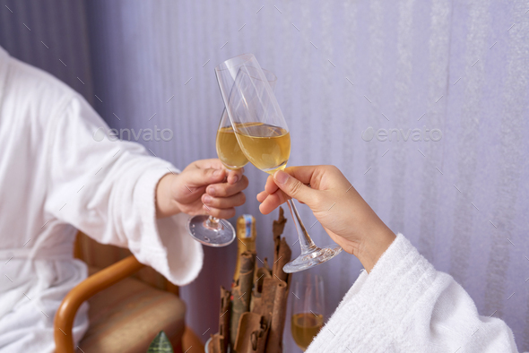 Clinking Glasses With Sparkling Wine - Stock Photo - Images