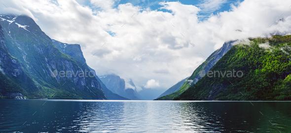 Lovatnet lake in Sogn og Fjordane county - Stock Photo - Images