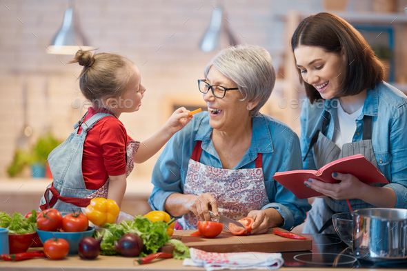 Homemade food and little helper - Stock Photo - Images