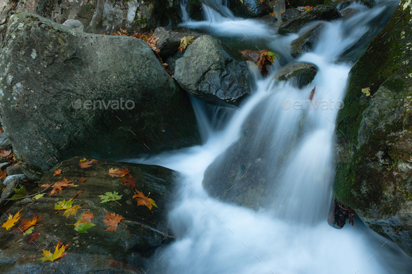Waterfall And Autumn Leaves - Stock Photo - Images