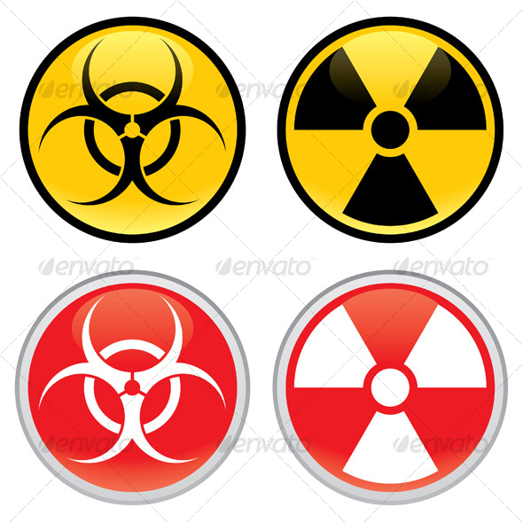 Biohazard and Radioactive Warning Signs - Miscellaneous Vectors