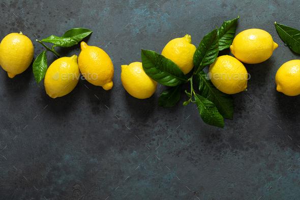 Fresh lemons with leaves, summer citrus lemonade ingredient - Stock Photo - Images