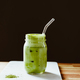 Matcha green tea latte in a glass jar - PhotoDune Item for Sale