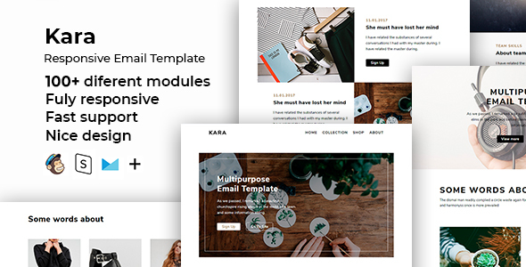 Kara – 100+ Responsive Modules + StampReady, MailChimp & CampaignMonitor compatible files by ThemesCode
