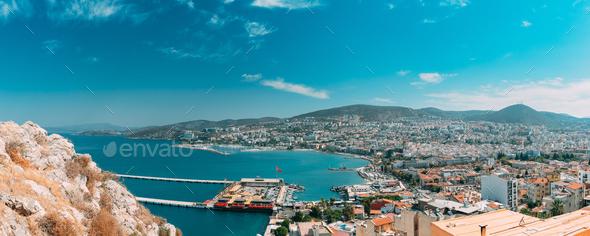 Kusadasi, Aydin, Aydın Province, Turkey. Waterfront And Kusadasi Cityscape In Sunny Summer Day - Stock Photo - Images