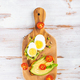 Sweet potato toasts with avocado, eggs, tomatoes and sesame seeds - PhotoDune Item for Sale
