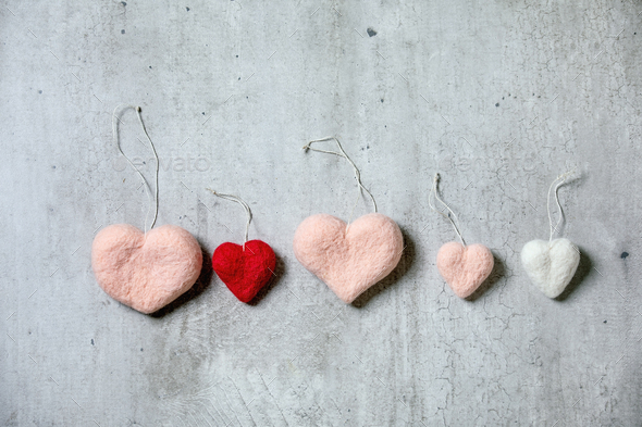 Different felted hearts - Stock Photo - Images
