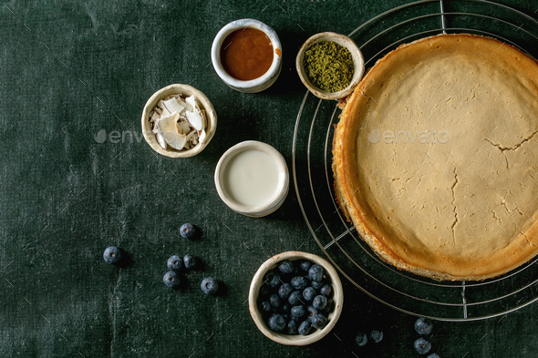 Cheescake with toppings - Stock Photo - Images