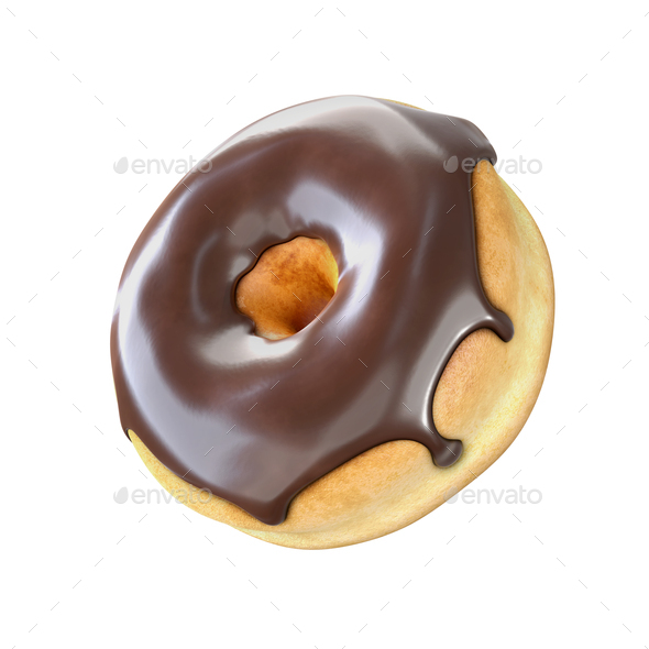 Donut with chocolate icing isolated on a white background. - Stock Photo - Images