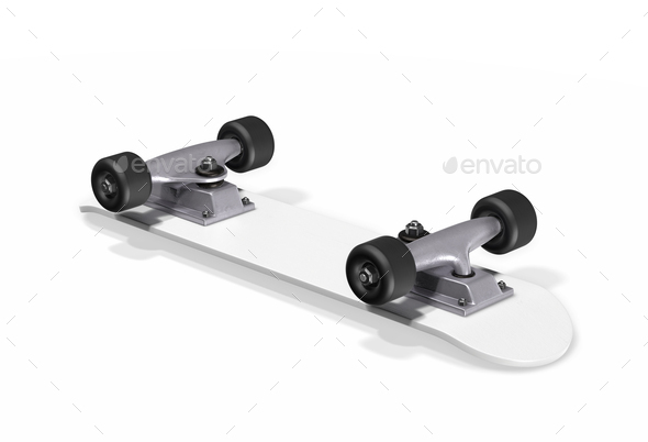 Inverted skateboard on a white background. 3d rendering - Stock Photo - Images