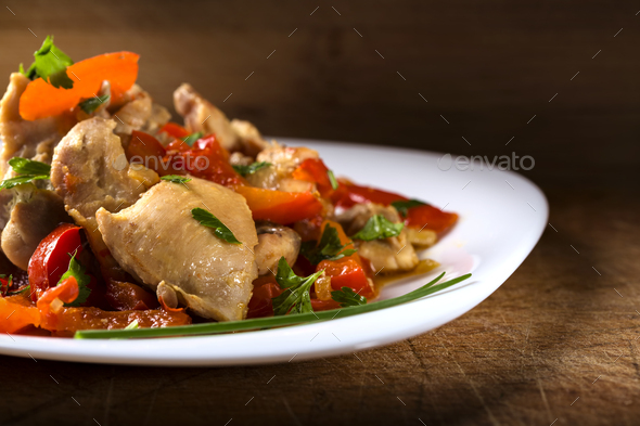 Plate with chicken stew - Stock Photo - Images