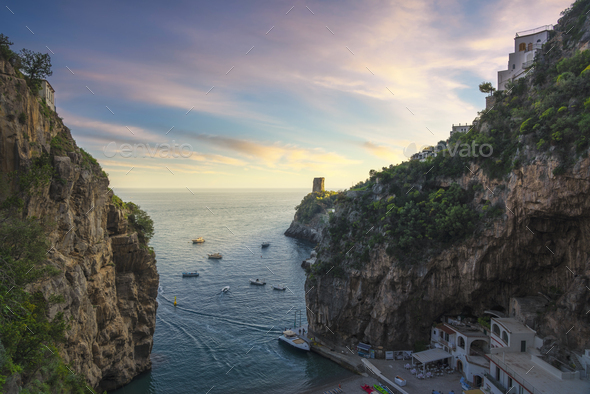 Furore beach bay in Amalfi coast, panoramic view. Italy - Stock Photo - Images
