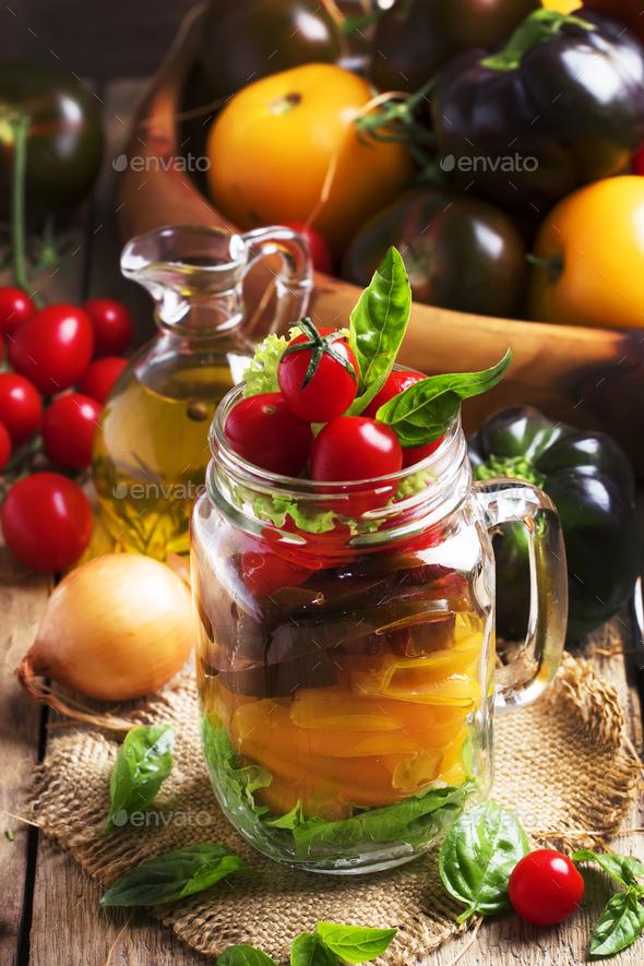 Vegan salad jar - Stock Photo - Images