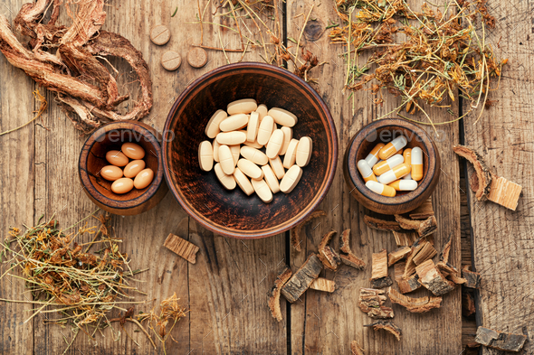 Vitamins, tablets and pills - Stock Photo - Images