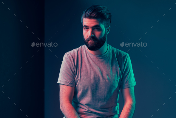 Neon portrait of a young attractive man - Stock Photo - Images
