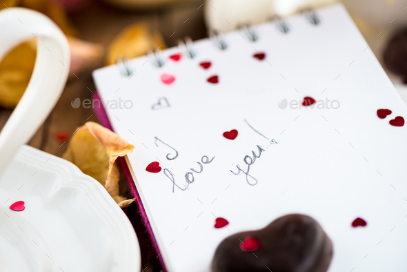 I love you note in the Valentine Day Settings - Stock Photo - Images