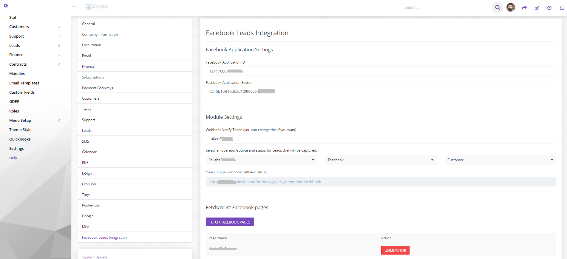 Facebook Leads synchronization module for Perfex CRM - 2