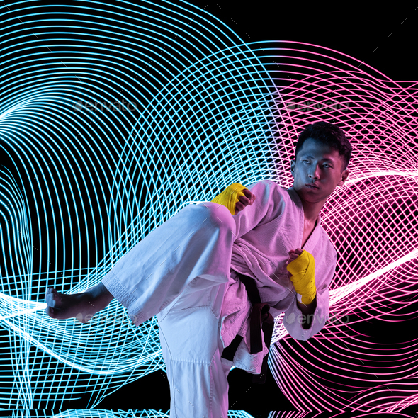 Creative sport and neon waves on dark neon lighted line background - Stock Photo - Images
