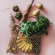 Flat-lay of eco-friendly bag with fresh ingredients and sausage - PhotoDune Item for Sale