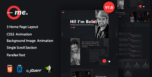 onlyMe - One Page Personal Portfolio