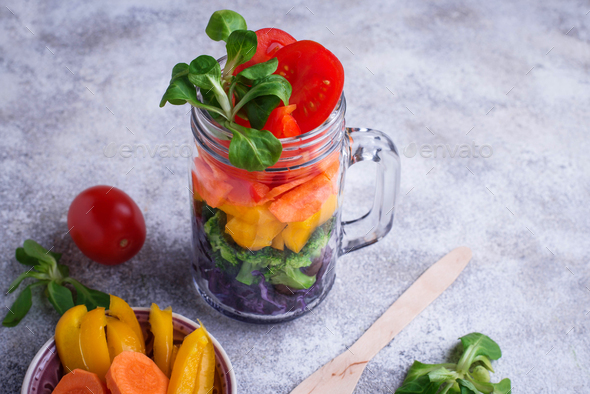 Vegetarian rainbow salad in a glass jar - Stock Photo - Images