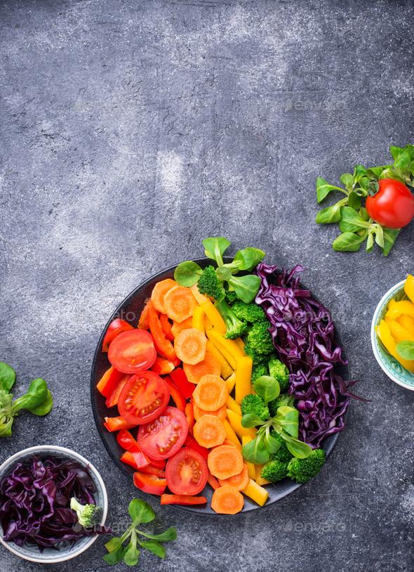 Fresh healthy vegetarian rainbow salad - Stock Photo - Images