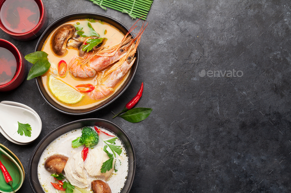 Tom Yum and Tom Kha traditional Thai soups - Stock Photo - Images