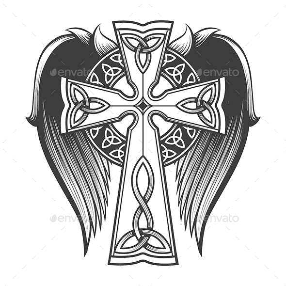 Celtic Cross With Wings By Olena1983 Graphicriver