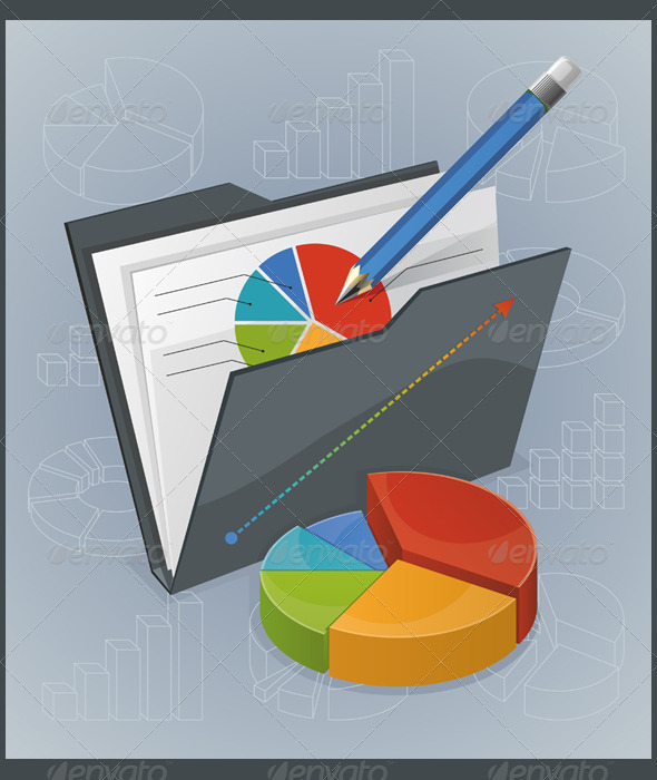 Folder With Chart And Pencil - Concepts Business