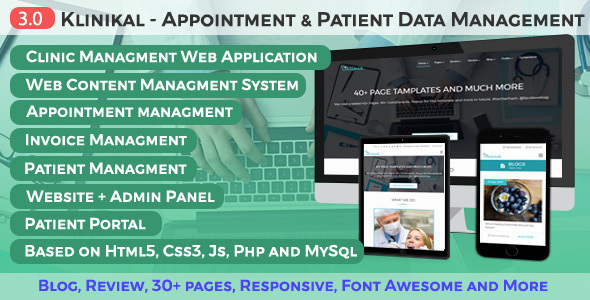 Klinikal - Appointment & Patient Data Management Responsive Web Application by ManasaTheme
