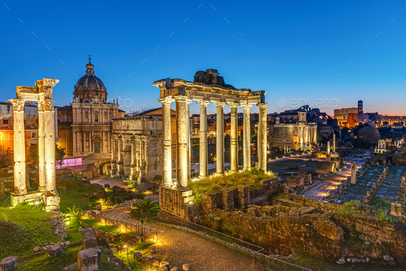 The remains of the Roman Forum - Stock Photo - Images