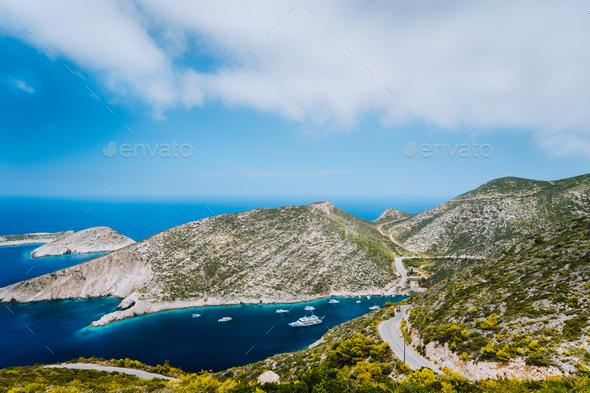 Blue sea bay of mediterranean sea in Porto Vromi on Zakynthos island, Greece - Stock Photo - Images