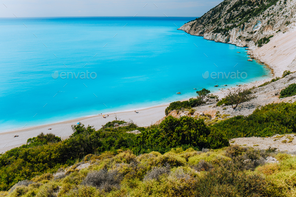 Famous Myrtos Beach. Must see visiting location on Kefalonia Greece - Stock Photo - Images
