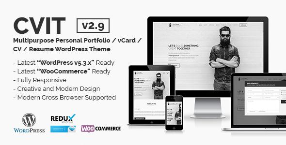 CVIT   Multipurpose Personal Portfolio / vCard / CV / Resume WordPress Theme by themelooks
