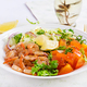 Fruit salad with fried prawns / shrimps, persimmon, red onion and lettuce in white bowls. - PhotoDune Item for Sale