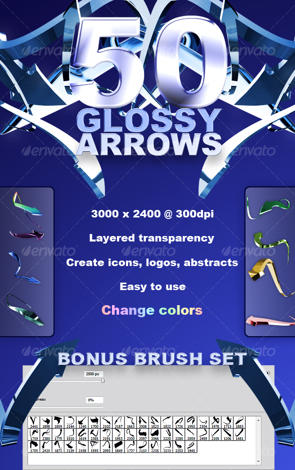 50 High Res Glossy Arrows - Decorative Symbols Decorative
