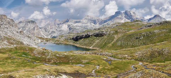 Scenic Mountains in Puez-odle nature park in the dolomites, Italy - Stock Photo - Images