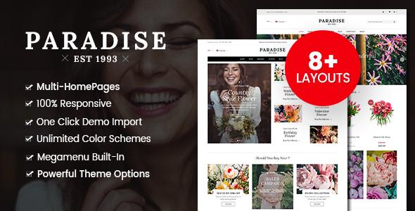 Paradise – Flower Shop WordPress WooCommerce Theme (8+ Homepages Ready)